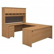 Bush Business Furniture Series C 72W U Shaped Desk with Hutch and Storage