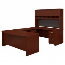 Bush Business Furniture 72W Bow Front U Shaped Desk with Hutch and Storage