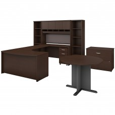 Bush Business Furniture Series C 60W Right Handed Bow Front U Shaped Desk with Storage and Conference Table