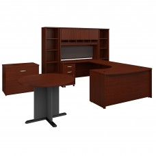 Bush Business Furniture Series C 60W Left Handed Bow Front U Shaped Desk with Storage and Conference Table