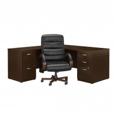 Bush Business Furniture Series C Elite 72W L Shaped Desk with File Cabinets and High Back Executive Office Chair