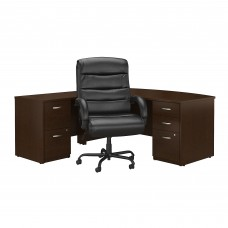 Bush Business Furniture Series C Elite 72W Bow Front L Shaped Desk with File Cabinets and Big and Tall Office Chair