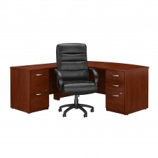 Bush Business Furniture Series C Elite 72W Bow Front L Shaped Desk with File Cabinets and High Back Office Chair
