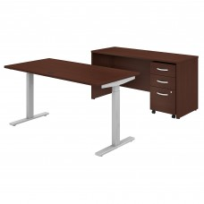 Bush Business Furniture Studio C 60W x 30D Height Adjustable Standing Desk, Credenza and Mobile File Cabinet