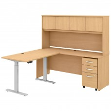 Bush Business Furniture Studio C 72W x 24D L Shaped Desk with Hutch, 48W Height Adjustable Return and Storage