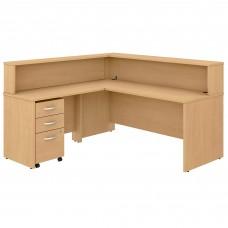 Bush Business Furniture Studio C 72W L Shaped Reception Desk with Shelf and Mobile File Cabinet
