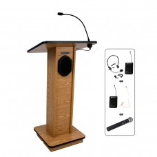 Elite Lectern - Wireless Sound - Oak