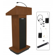 Executive Column Lectern - Wireless Sound - Mahogany