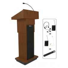 Executive Adjustable Column Lectern - Wireless Sound - Mahogany