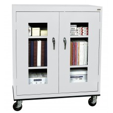 """Sandusky® See Thru 36"""" x 18"""" x 48"""" Transport Mobile Clearview Counter Height Cabinet, Red"""