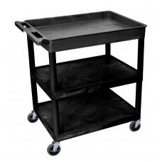 Luxor 3 Shelf Large Black Tub Cart