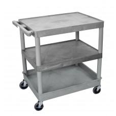 Luxor 3 Shelf Large Gray Tub Cart