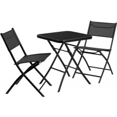 23.75'' Square Tempered Glass Metal Outdoor Table Set with 2 Textilene Fabric Folding Chairs [TLH-137-SQ-GG]