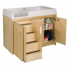 Toddler Walkup Changing Table, Lockable storage cabinet base - Assembled