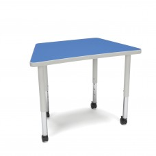OFM Adapt Series Trapezoid Student Table - 20-28″ Height Adjustable Desk with Casters, Blue (TRAP-SLC)
