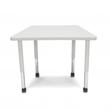 OFM Adapt Series Trapezoid Student Table - 20-28″ Height Adjustable Desk with Casters, Gray Nebula (TRAP-SLC)