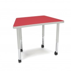 OFM Adapt Series Trapezoid Student Table - 20-28″ Height Adjustable Desk with Casters, Red (TRAP-SLC)