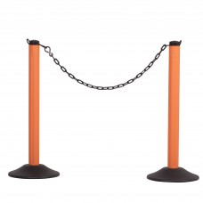 Molded stanchion (prefilled) with orange post & 10' of black chain