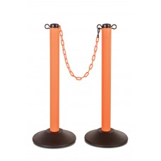 Molded stanchion (prefilled) with orange post & 10' of orange chain