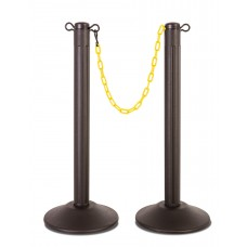 Molded stanchion (prefilled) with black post & yellow chain