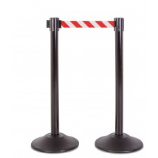 Steel stanchion w/ black post and 7.5' red/ white chevron belt
