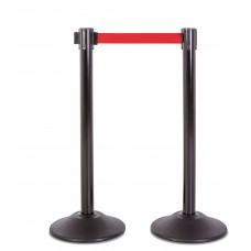 Steel stanchion w/ black post and 7.5' red belt