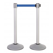 Steel stanchion w/ silver post and 7.5' blue belt