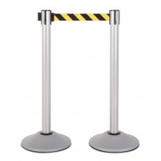 Steel stanchion w/ silver post and 7.5' yellow/black chevron belt