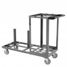 Empty steel stanchion cart