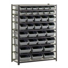 "Sandusky® 57""H x 44""W x 16""D Steel 36 Storage Bin Shelving Unit, Black"