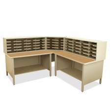 50 Slot Mailroom Organizer, 2 Storage Shelves