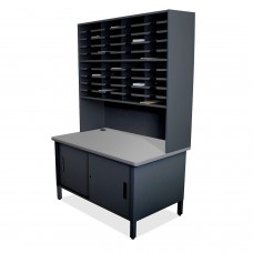 40 Slot Mailroom Organizer with Cabinet, Riser