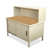 Mailroom Utility Table with Cabinet, Riser