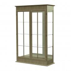 "Varsity 48""W x 77""H x 18""D Lighted Floor Case, Hinged Doors, Mirror Back, Driftwood Oak Finish"