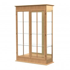 "Varsity 48""W x 77""H x 18""D Lighted Floor Case, Hinged Doors, Mirror Back, Natural Oak Finish"