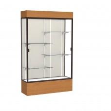 """Reliant 48""""W x 80""""H x 16""""D Lighted Floor Case, Plaque Back, Dk. Bronze Finish, Carmel Oak Base"""