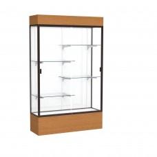 """Reliant 48""""W x 80""""H x 16""""D Lighted Floor Case, White Back, Dk. Bronze Finish, Carmel Oak Base"""