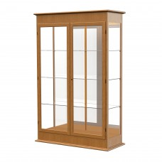 "Varsity 48""W x 77""H x 18""D Lighted Floor Case, Hinged Doors, Mirror Back, Carmel Oak Finish"