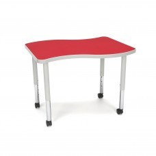 OFM Adapt Series Small Wave Student Table - 20-28″ Height Adjustable Desk with Casters, Red (WAVE-S-SLC)