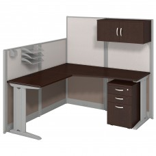 Bush Business Furniture Office in an Hour 65W x 65D L Shaped Cubicle Workstation with Storage