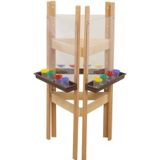 3-Sided Adjustable Easel with Acrylic & Brown Trays