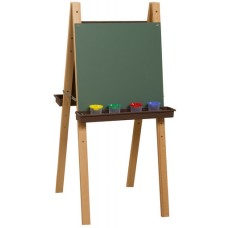 Double Adjustable Easel with Chalkboard & Brown Trays