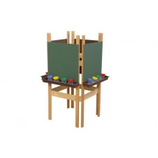 4-Sided Adjustable Easel with Chalkboard & Brown Trays