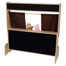 Deluxe Puppet Theater with Flannelboard & Brown Curtains