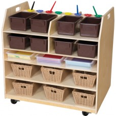 Trolley Art Cart with Brown Trays