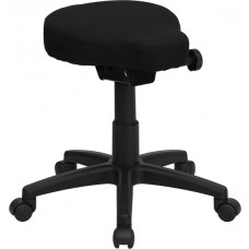 Black Saddle-Seat Utility Stool with Height and Angle Adjustment [WL-1620-GG]