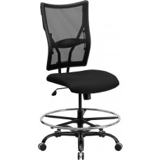 HERCULES Series Big & Tall 400 lb. Rated Black Mesh Drafting Chair [WL-5029SYG-D-GG]
