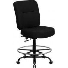 HERCULES Series Big & Tall 400 lb. Rated Black Fabric Drafting Chair [WL-735SYG-BK-D-GG]