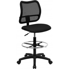 Mid-Back Black Mesh Drafting Chair [WL-A277-BK-D-GG]