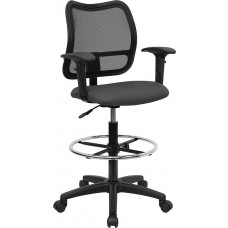 Mid-Back Gray Mesh Drafting Chair with Adjustable Arms [WL-A277-GY-AD-GG]